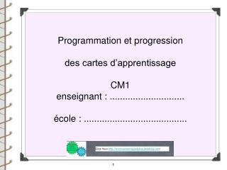 Programmation et progression  des cartes d'apprentissage  CM1