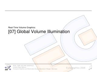 Real-Time Volume Graphics [07] Global Volume Illumination