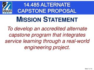 14.485 ALTERNATE CAPSTONE PROPOSAL