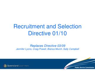 Recruitment and Selection Directive 01/10