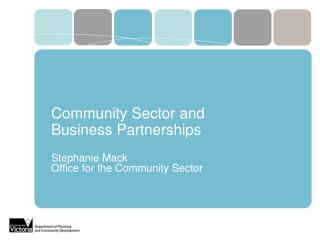 Community Sector and  Business Partnerships