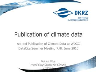 Publication of climate data