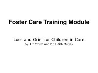 Foster Care Training Module