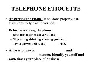 PPT - TELEPHONE ETIQUETTE PowerPoint Presentation - ID:4314349