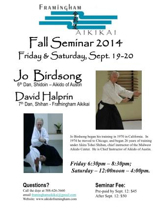 Seminar Fee: Pre-paid by Sept. 12: $45 After Sept. 12: $50