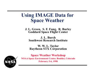 Using IMAGE Data for  Space Weather