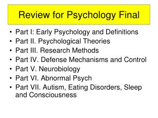 Review for Psychology Final
