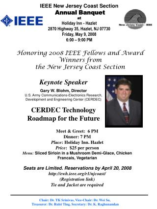Honoring 2008 IEEE Fellows and Award Winners from  the New Jersey Coast Section