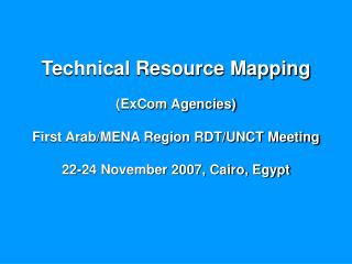 Technical Resource Mapping