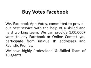 Buy Votes Facebook