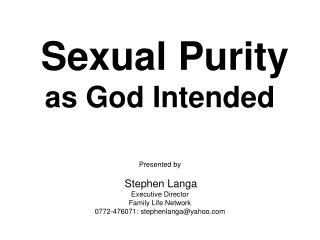 Sexual Purity as God Intended