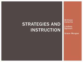 Strategies and Instruction