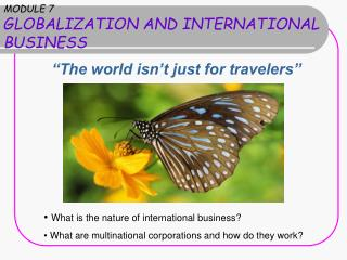 MODULE 7 GLOBALIZATION AND INTERNATIONAL BUSINESS