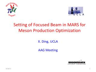 Setting of Focused Beam in MARS for Meson Production Optimization