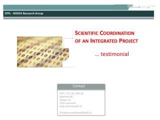 Scientific Coordination  of an Integrated Project