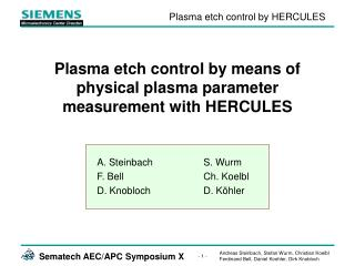 Plasma etch control by means of physical plasma parameter measurement with HERCULES