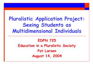 Pluralistic Application Project:  Seeing Students as Multidimensional Individuals