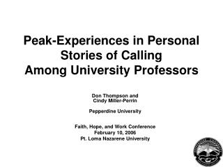 Peak-Experiences in Personal Stories of Calling Among University Professors