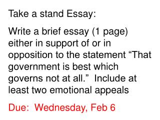 Take a stand Essay: