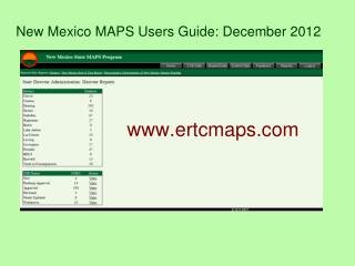 New Mexico MAPS Users Guide: December 2012