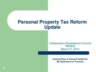 Personal Property Tax Reform Update