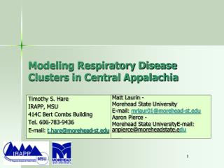 Modeling Respiratory Disease Clusters in Central Appalachia