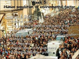 Week 5: Human population as environmental factor
