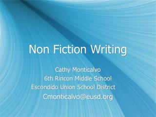 Non Fiction Writing