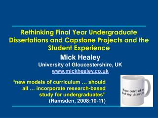 Rethinking Final Year Undergraduate Dissertations and Capstone Projects and the Student Experience
