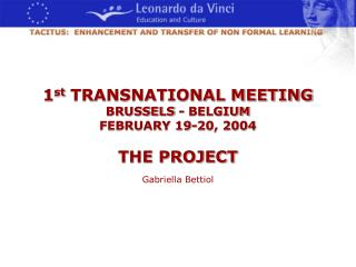 1 st  TRANSNATIONAL MEETING BRUSSELS - BELGIUM  FEBRUARY 19-20, 2004 THE PROJECT