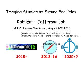 Imaging Studies at Future Facilities Rolf  Ent  – Jefferson Lab