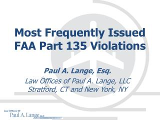 Most Frequently Issued  FAA Part 135 Violations