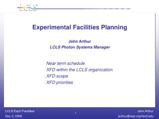 Experimental Facilities Planning