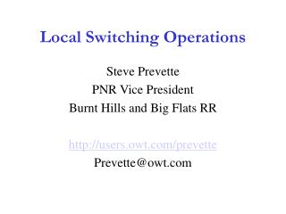 Local Switching Operations