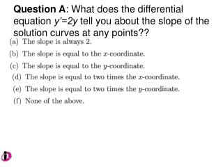 Question B :  The slope field below indicates that the differential equation has which form?