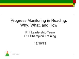 Progress Monitoring in Reading: Why, What, and How