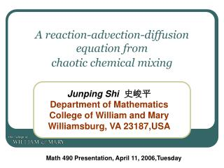 A reaction-advection-diffusion equation from  chaotic chemical mixing