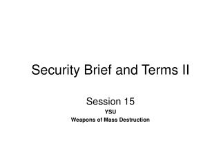 Security Brief and Terms II