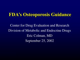 FDA's Osteoporosis Guidance