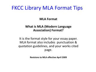 FKCC Library MLA Format Tips