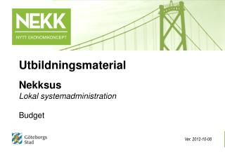 Nekksus Lokal systemadministration   Budget