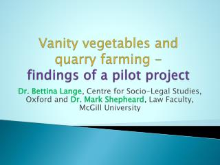 Vanity vegetables and quarry farming - findings of a pilot project
