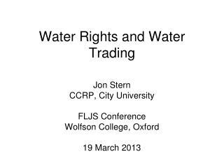 Water Rights and Water Trading