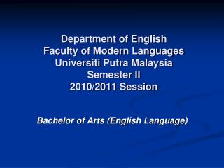 Bachelor of Arts (English Language)