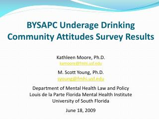 BYSAPC Underage Drinking Community Attitudes Survey Results