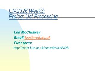 CIA2326 Week3: Prolog: List Processing