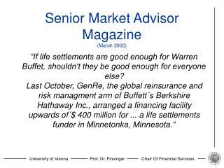 Senior Market Advisor Magazine (March 2002)