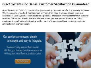 Giact Systems Inc Dallas: Customer Satisfaction Guaranteed