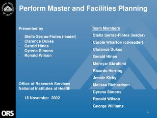 FY02 ASA Presentation  Perform Master and Facilities Planning