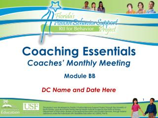 Coaching Essentials Coaches' Monthly Meeting  Module BB